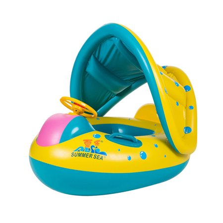 Iuhan Swimming Ring Inflatable Baby Float Sunshade Swimming Boat Seat With Sun Canopy
