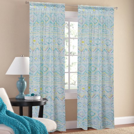 Mainstays Watercolor Mint Window Curtains Set Of 2