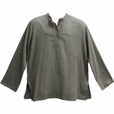 Men's Indian Yoga Mandarin Collar Gauze Cotton Embroidered Tunic Shirt Kurta - Gray - Large/XL