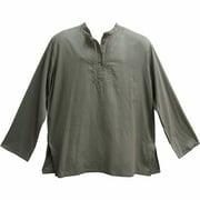 Men's Indian Yoga Mandarin Collar Gauze Cotton Embroidered Tunic Shirt Kurta - Gray - Large/XL