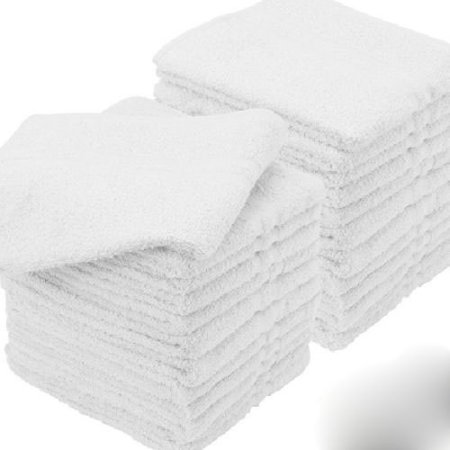 "GHP 60-Pcs White Cotton 12""x12"" Absorbent Commercial Grade Hotel Washcloth Towels"