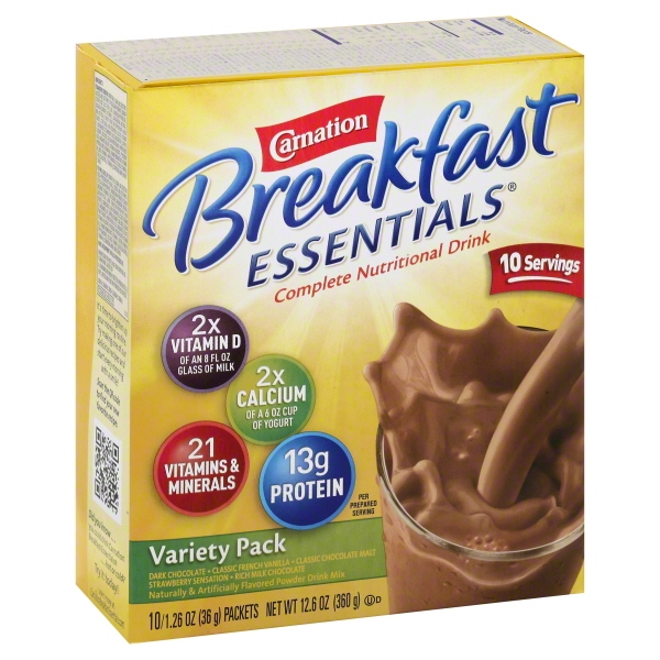 Carnation Breakfast Essentials Variety Pack Complete Nutritional Drink, 1.26 Oz, 10 Ct