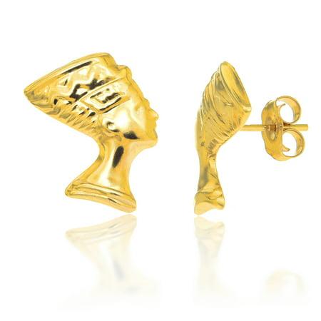 14K Solid Yellow Gold Egyptian Nefertiti Bust Post Stud Earrings