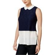 MAISON JULES Navy Lace Floral Sleeveless Peter Pan Collar Top  Size: XL
