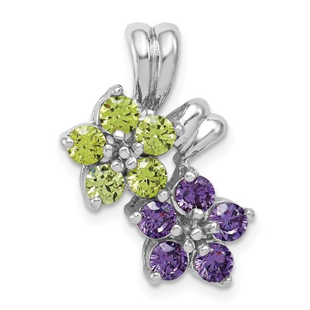 925 Sterling Silver Purple Amethyst Green Peridot Floral Pendant Charm Necklace Gemstone Gifts For Women For Her