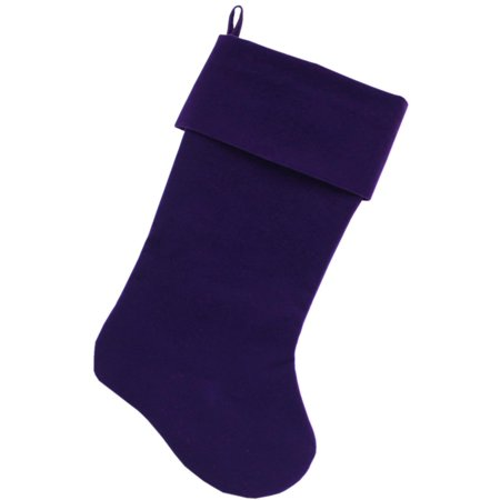 Plain Velvet 18 Inch Christmas Stocking Purple