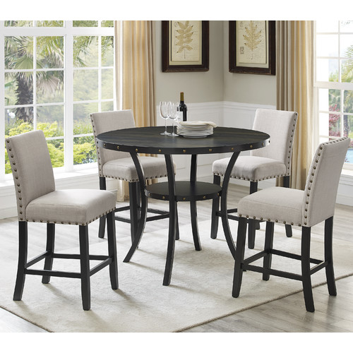 Roundhill Furniture Biony 5 Piece Wood Counter Height Dining Table Set