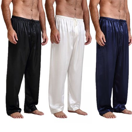 Mens Silk Satin Pajamas Pyjamas Pants Sleep Bottoms Nightwear Sleepwear