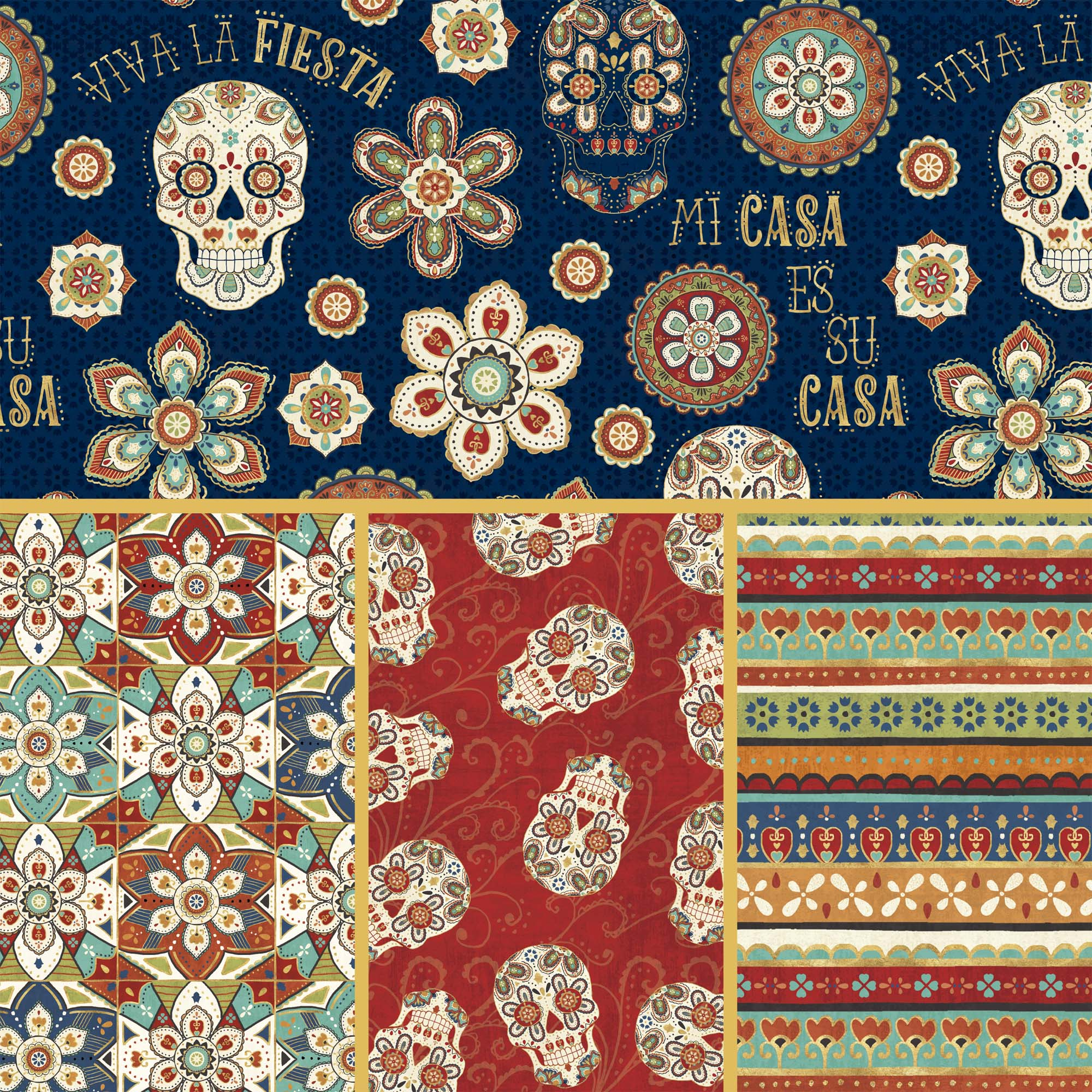 David Textiles Cotton Precut Fabric La Vida Loca Collection 1 Yd X 44 Inches