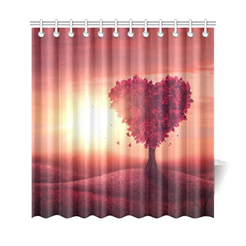 GCKG Sunset Landscape With Red Heart Tree Shower Curtain Wedding Valentines Day Polyester Fabric Bathroom Sets 66x72 Inches