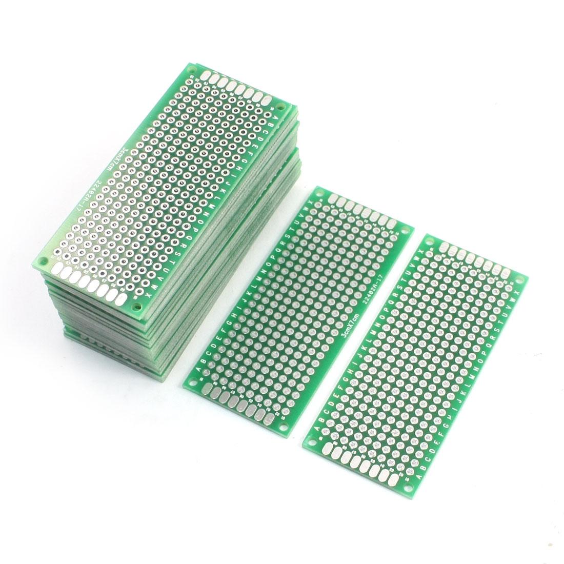 25PCS 3cm x 7cm double face en fibre de verre Prototype PCB Conseil Vert - image 1 de 1