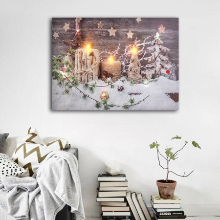Christmas Decoration Light Up LED Canvas Wall Art Picture Flickering Candles LED Light Up Candle Canvas Picturess Sweet Home Picture Decor Wall (Led Art)