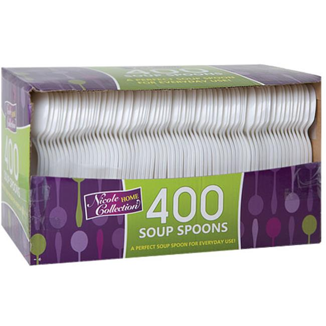 Nicole Home Collection 81456 Polypropylene S-Spoon White Pp Boxed - 4000 Per Case