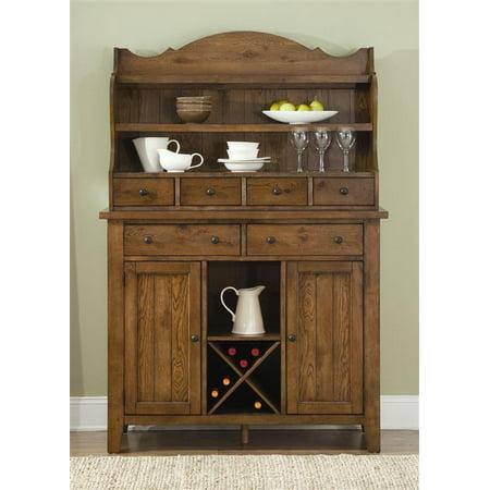 Liberty Furniture Hearthstone Server Hutch In Rustic Oak Finish