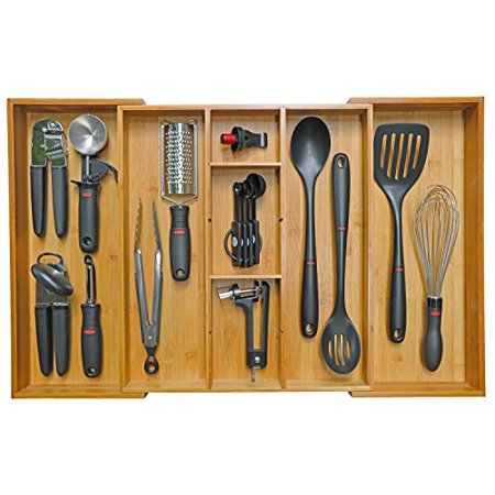 Kitchenedge Adjule Bamboo Kitchen Drawer Organizer For Utensils And Junk Expandable To 28 Inches Wide