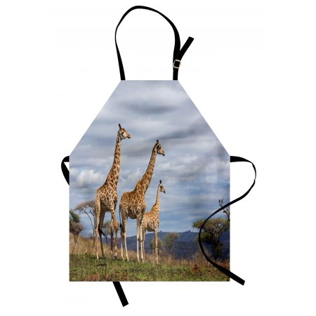 Africa Apron African Giraffe Family Looking at the Skyline in Savannah Grassland with Shrubs Print, Unisex Kitchen Bib Apron with Adjustable Neck for Cooking Baking Gardening, Tan Blue, by (Tan Apron)