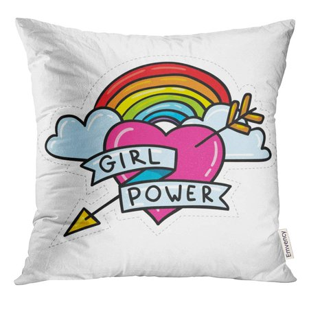 Rainbow Tattoos (ARHOME Cute Cartoon 80S 90S Comic Style Doodle Rainbow Arrow and Heart Feminism Sign Girl Power Sticker Tattoo Pillow Case 18x18 Inches)