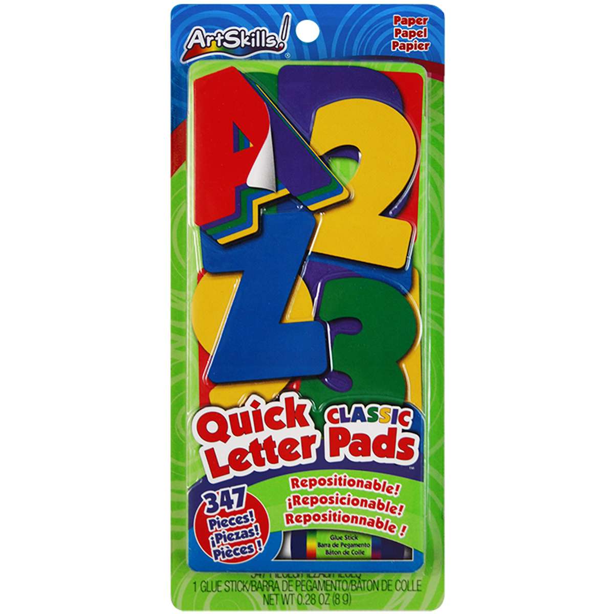 Artskills Quick Letter/Number Pads Repositionable With Glue Stick, Classic Colors, 347pc