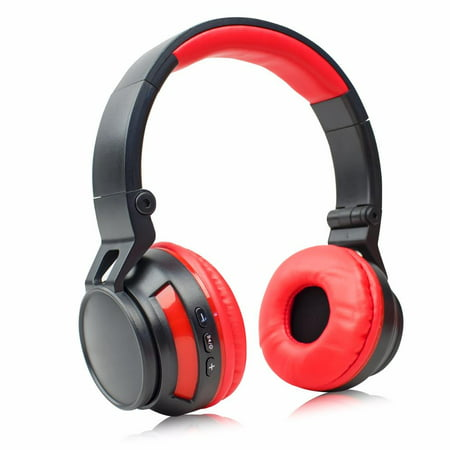 Stereo Wireless Bluetooth Headset/ Headphones for Apple iPhone X/ 8/ 7 / 6S/ 6/ Plus/ SE/ 5S/ 5C/ 5/ iPad Pro/ Mini/ Air/ iPod touch 5th 4th (Red/