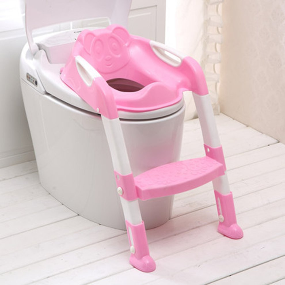 Foldable Children Potty Seat With Ladder Cover PP Toilet Adjustable Chair