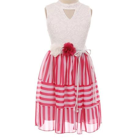 Little Girls Sleeveless Lace Bodice Stripe Chiffon Easter Flower Girl Dress USA Hot Pink 4 (2J1K1S1)