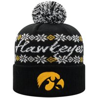 Women's Russell Athletic Black Iowa Hawkeyes Flattered Cuffed Knit Hat with Pom - OSFA