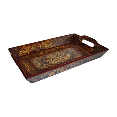 Cheungs FP-2432A Wooden Rectangular Decorative Tray in Brown