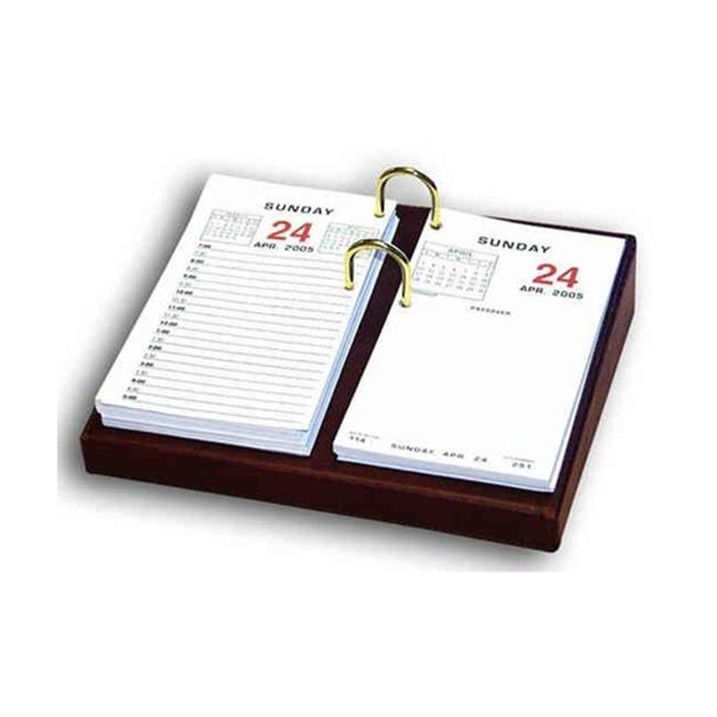 Dacasso A3006 Mocha Leather 3. 5 inch x 6 inch Desktop Calendar Holder - Gold Bolts