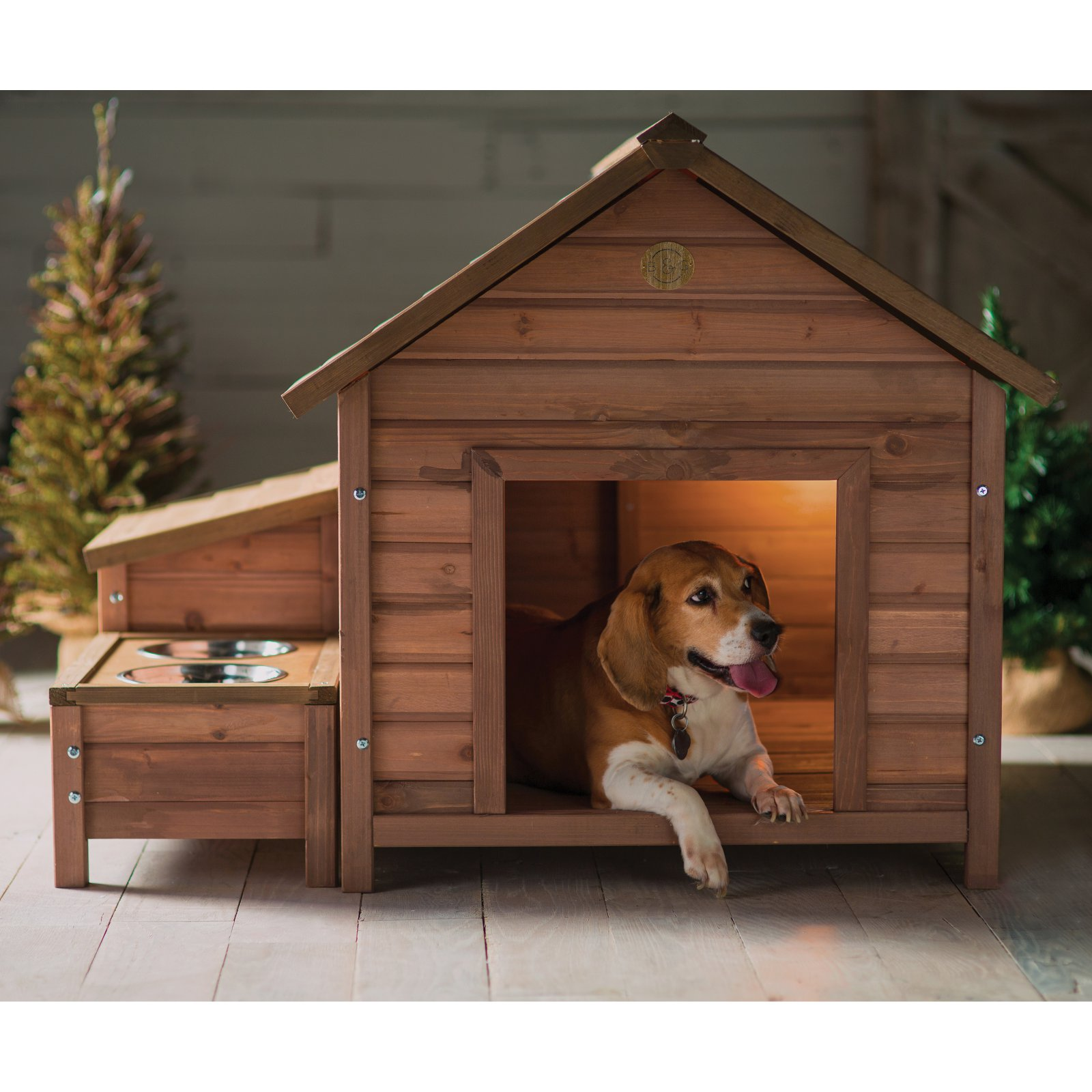 Boomer George A Frame Dog House With Food Bowl Tray And Storage Cubby