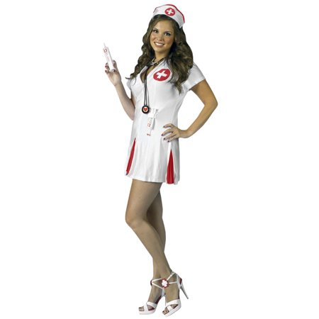 Womens Dr. Doctor Nurse Dress Shot Drink Syringes Outfit Funny Halloween Costume