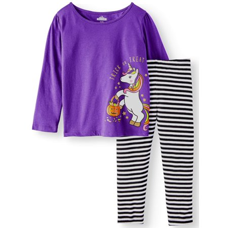 Halloween Long Sleeve Unicorn T-Shirt & Leggings, 2pc Outfit Set (Toddler - Halloween Outfits Ideas Homemade