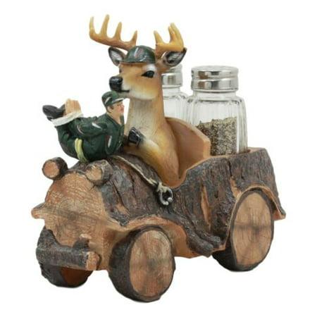 Ebros Open Season Whitetail Buck Angry Deer On Hunter's Car Glass Salt and Pepper Shakers Holder Figurine Decor 6.5