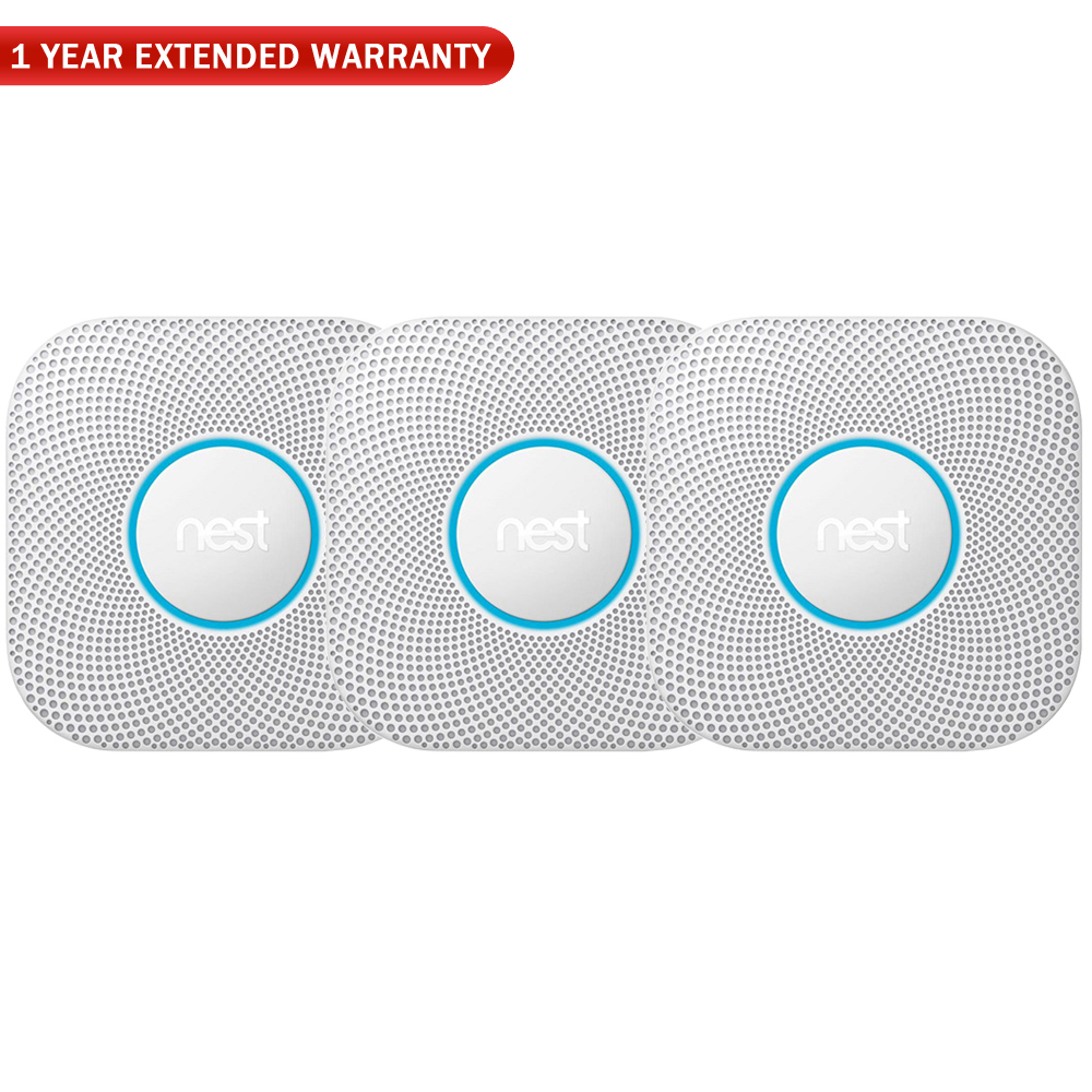 Nest S3006WBUS Protect Smoke and CO Alarm, Battery, White (3-Pack) w/ 1 Year Extended Warranty