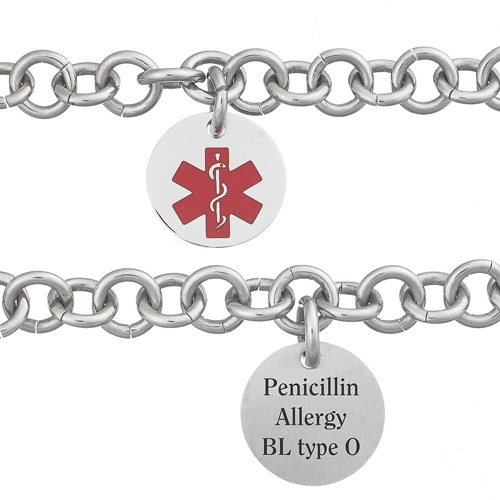 """Personalized Stainless Steel Engraved Round Medical ID Bracelet, 7.5"""""""