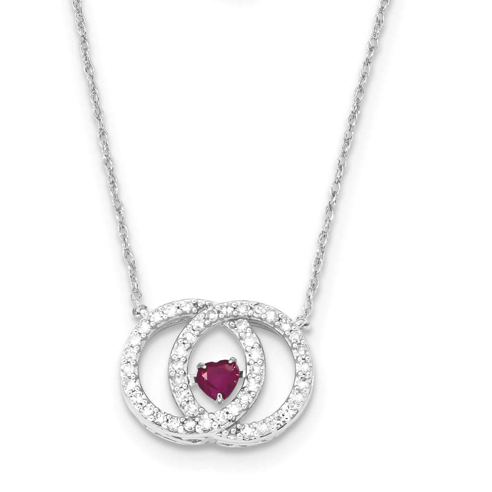 14k White Gold White Diamond & Vibrant Ruby Necklace by