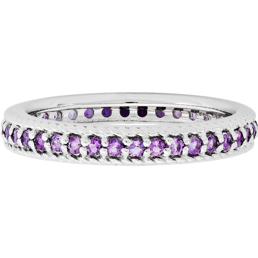 Stackable Expressions Amethyst Sterling Silver Polished Eternity Ring by Amethyst Rings