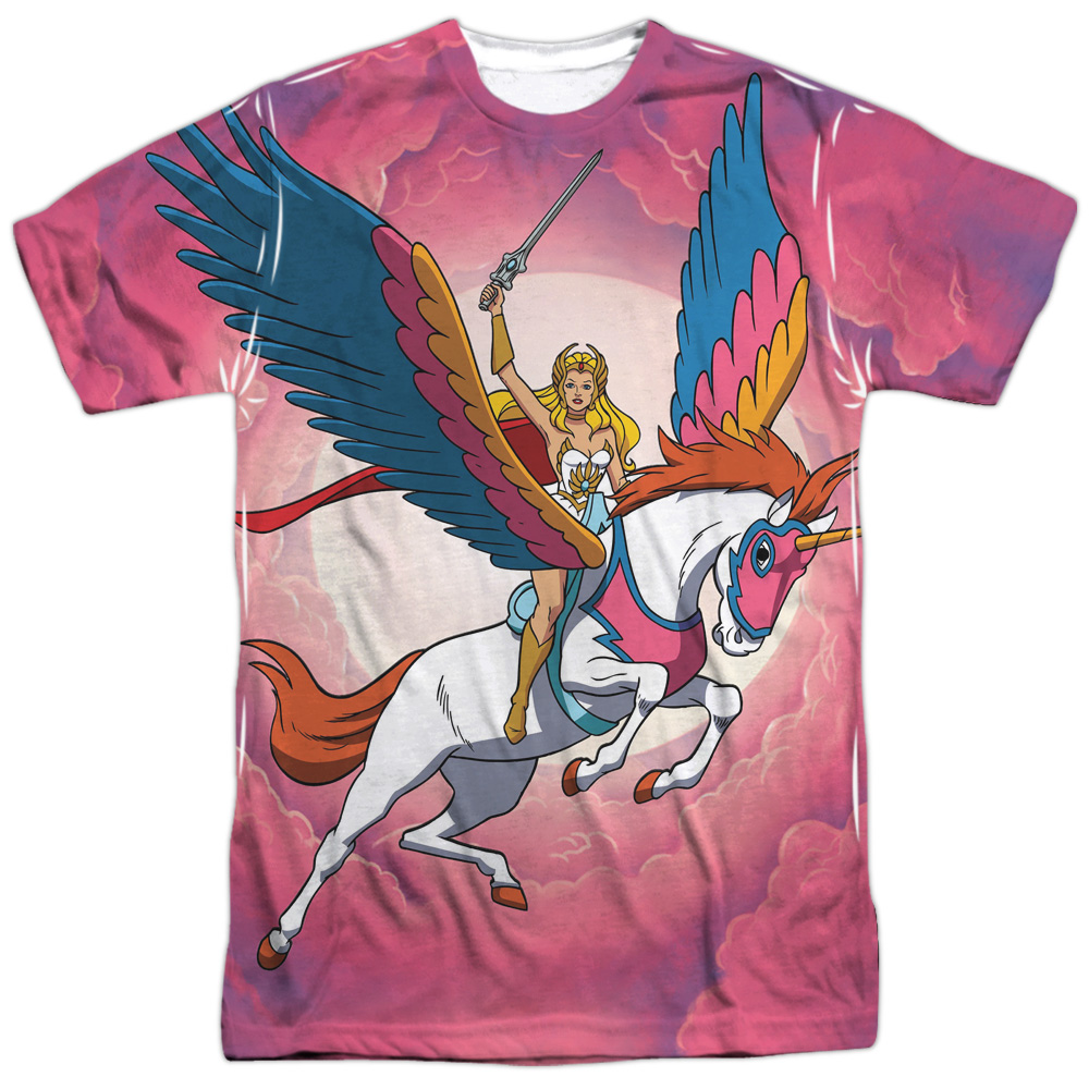 She-Ra Princess of Power Cartoon Flying Unicorn Adult Front Print T-Shirt