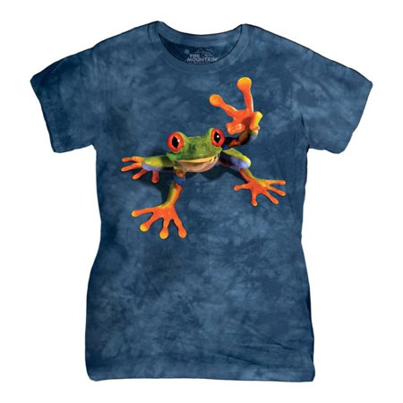 The Mountain Blue Cotton Victory Frog Design Novelty Parody Womens T Shirt