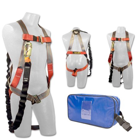 Madaco Roof Construction Fall Protection Full Body Industrial Safety  Harness Internal Shock Absorbing 6FT Lanyard Kit Size M-XXL ANSI OSHA Combo  A