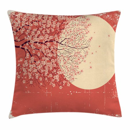 Spring Throw Pillow Cushion Cover, Cherry Blossom Sakura Tree Branches on Moon Japanese Style Soft Illustration, Decorative Square Accent Pillow Case, 18 X 18 Inches, Peach Dark Coral, by Ambesonne