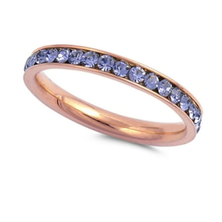 Lavender Crystal Ring (Stainless Steel Lavender Color Eternity Ring With)