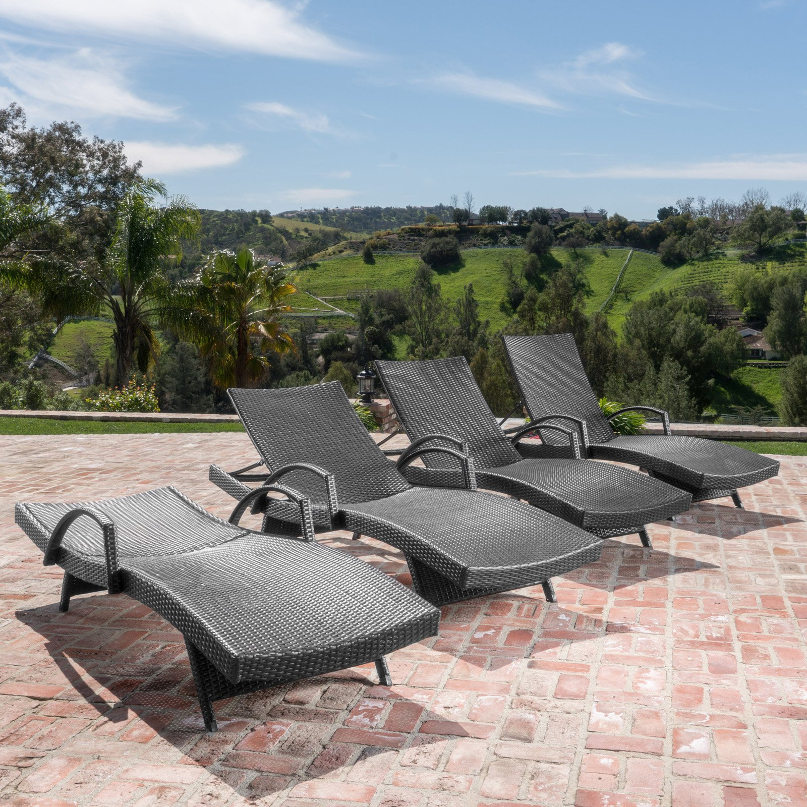 Salem Outdoor Grey Wicker Arm Chaise Lounge Set by Overstock