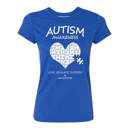 Autism Merchandise (Autism Awareness Support Heart Puzzle Women's T-shirt, XL,)