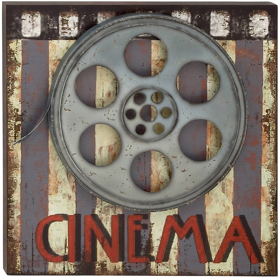 Decmode Wood and Metal Movie Plaque, Multi Color