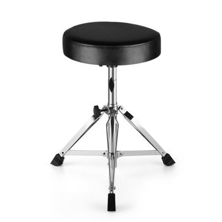 Drum Throne - Drum Stool Padded Seat Height Adjustable Round Top Drum Chair With Sturdy Tripod Base, Anti-Slip Rubber Feet Foldable For Drummer, Percussion, Keyboard, Piano Players
