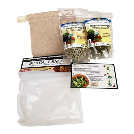 Green Sprouts Organic Terry - Handy Pantry Sprout Sack Combo Pack - Certified Organic - Sprouting Bag Plus Green Pea & Mung Bean Seeds