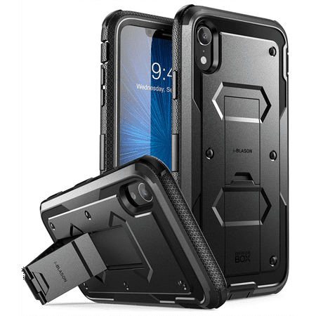 (iPhone XR Case, [Armorbox] i-Blason [Built in Screen Protector][Full Body] [Heavy Duty Protection] [Kickstand] Shock Reduction Case for Apple iPhone XR 6.1 Inch (2018 Release) (Black))