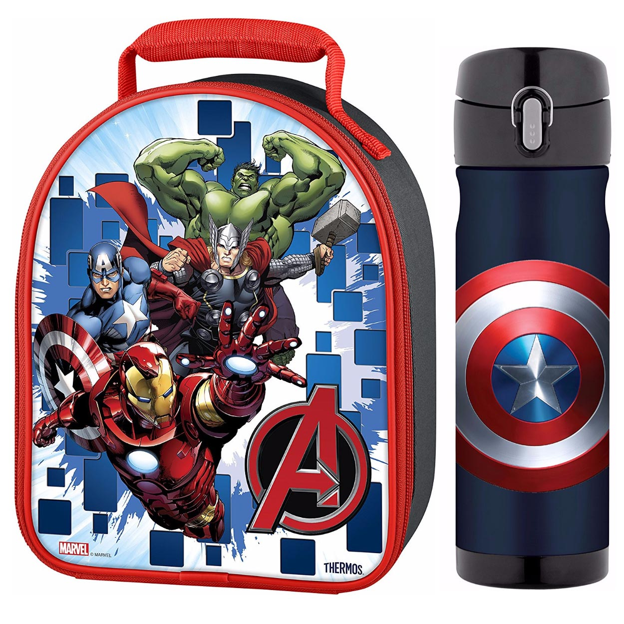 Thermos Novelty Lunch Kit w/ Drink Bottle - Avengers 3D L...