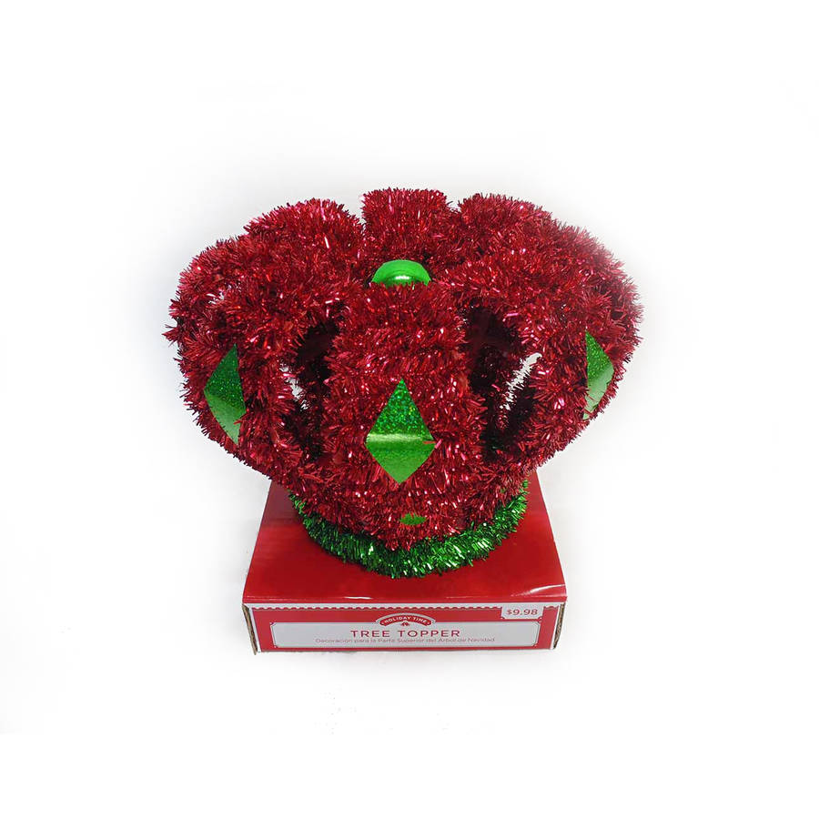 DONGGUAN CITY JIANSHU INDUSTRIAL LIMITED Holiday Time Christmas Decor Tree Topper, 10 Crown, Red
