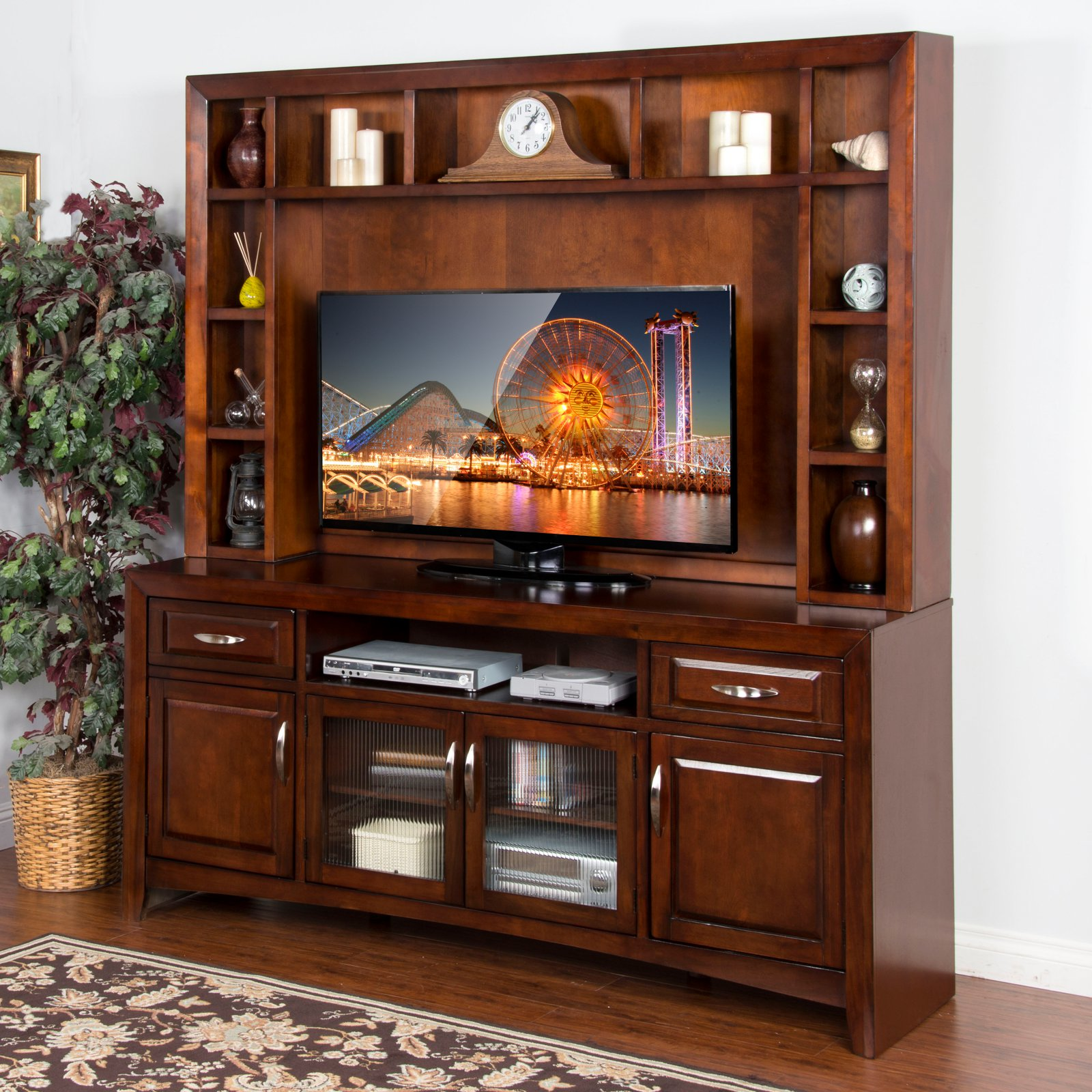 Sunny Designs Cappuccino 80 in. TV Console with Hutch